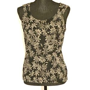 Liz Claiborne Black Tank with White Flowers M